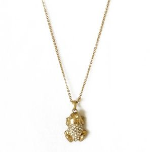 J. Crew Crystal Gold Frog Charm Necklace 30""